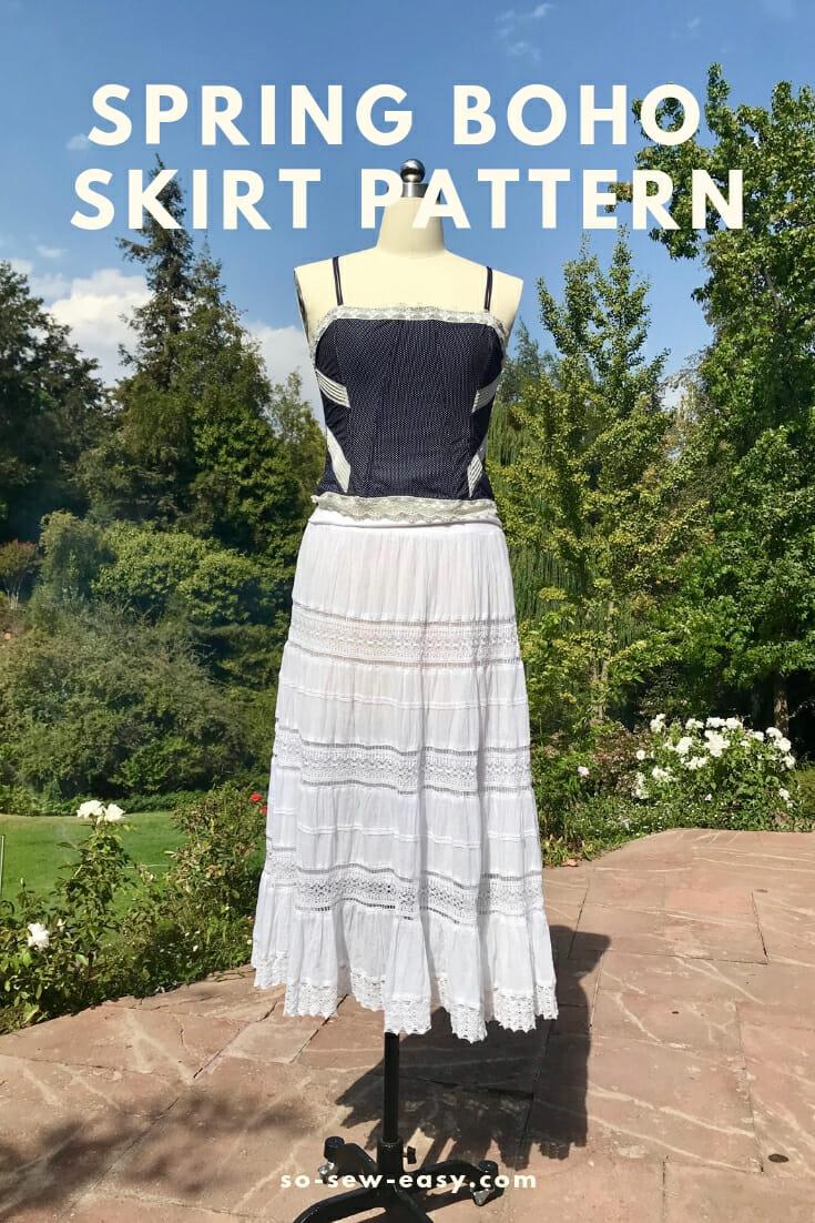 Free sewing pattern: Boho maxi skirt