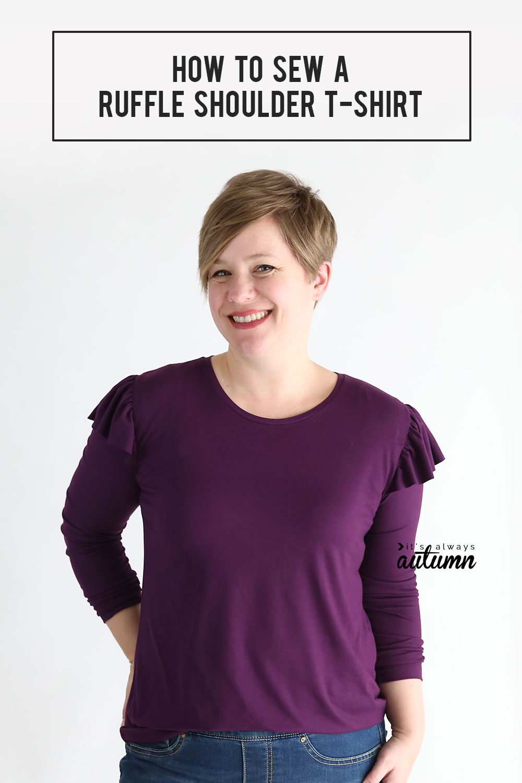 Sewing tutorial: Ruffled shoulder t-shirt