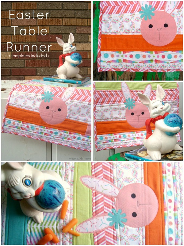 Sewing tutorial: Scrap pieced Easter table runner