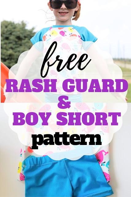 Free sewing pattern: Girls' rash guard and boy shorts swimsuit