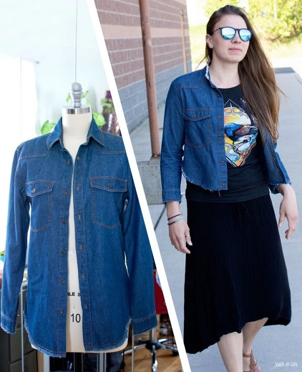 Sewing tutorial: Cropped jacket from a denim shirt