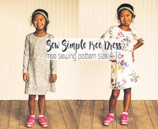 Free pattern: Girls A-line knit dress