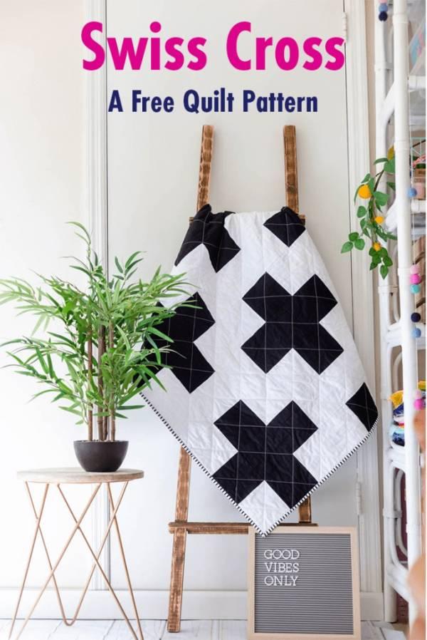 Free pattern: Modern Swiss Cross Quilt