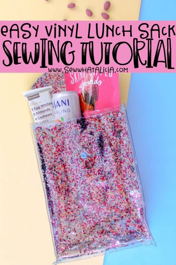 Sewing tutorial: Glitter vinyl lunch sack
