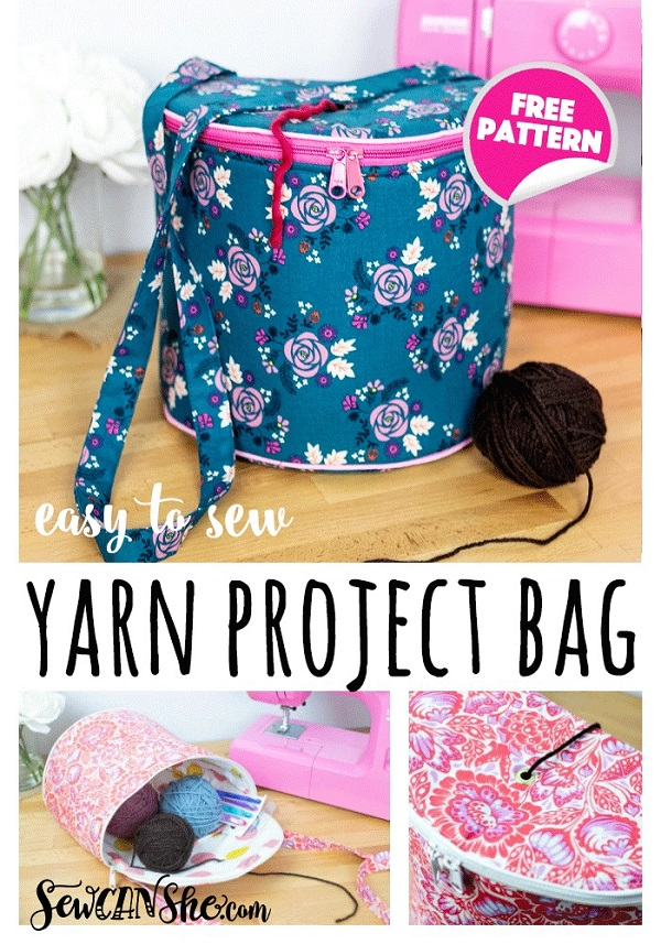Sewing tutorial: Yarn project bag for knitting and crochet