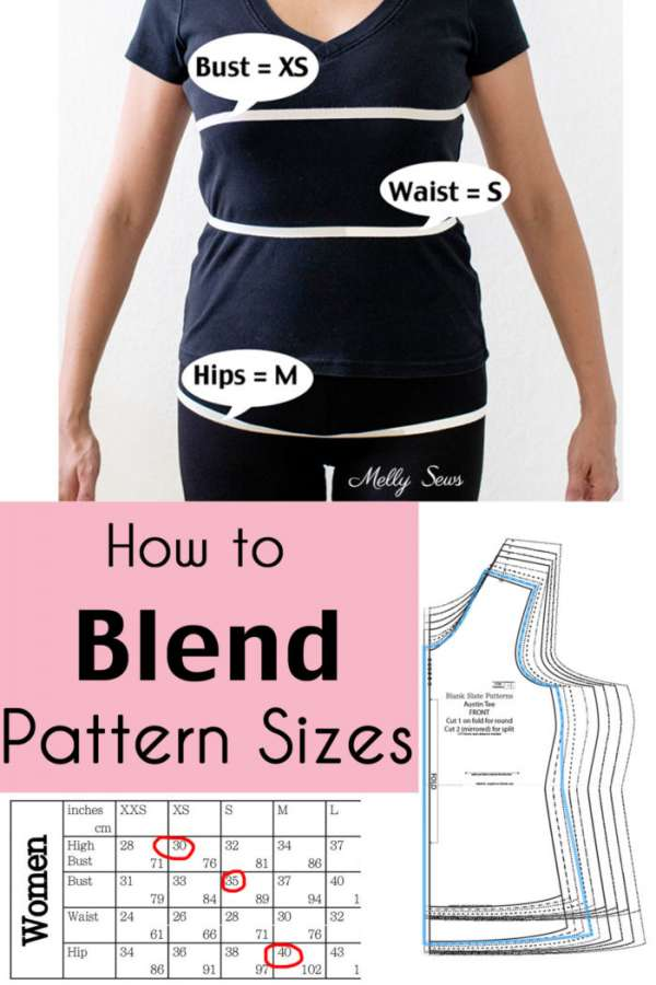 How to blend sewing pattern sizes to get a custom fit