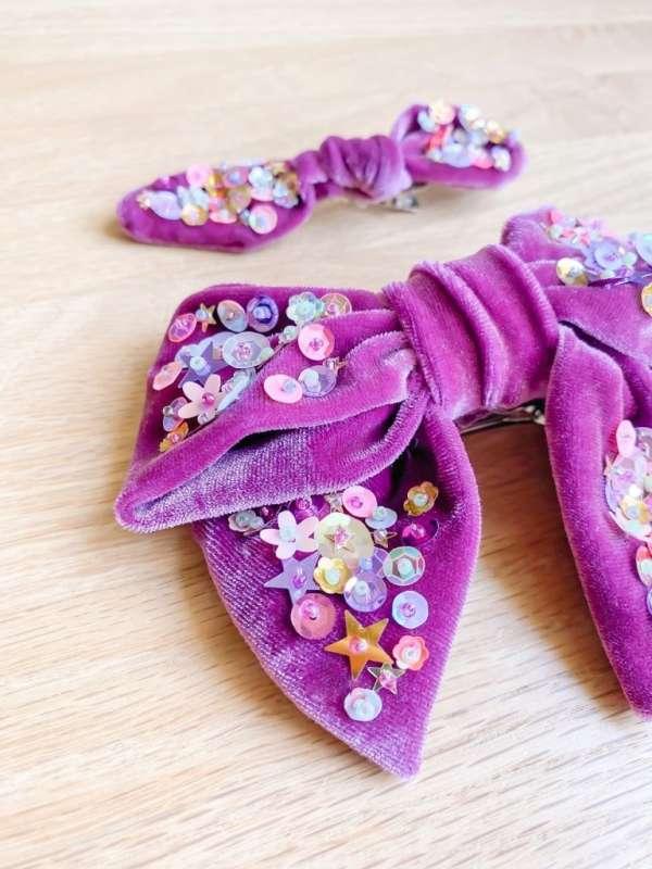 Beautiful Sequin Velvet Hairbow - DIY Sewing Tutorial