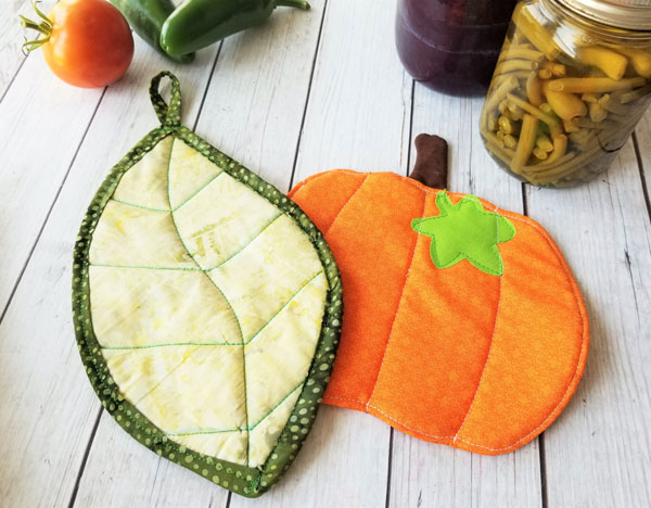Leaf or Pumpkin Fall Pot Holder Free Sewing Pattern