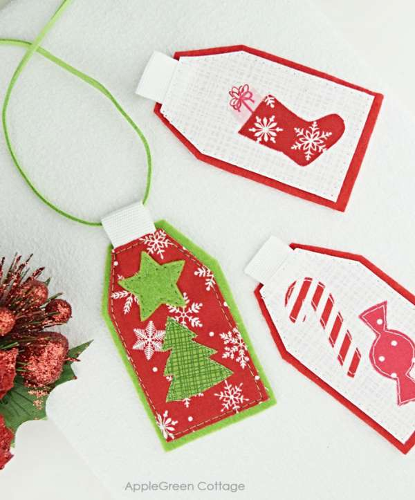 Reusable Fabric Gift Tags for Christmas - DIY Sewing Tutorial