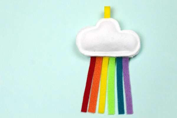 Rainbow Cloud Felt Cat Toy - Easy Sewing Tutorial