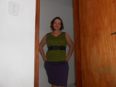 green and purple outfit