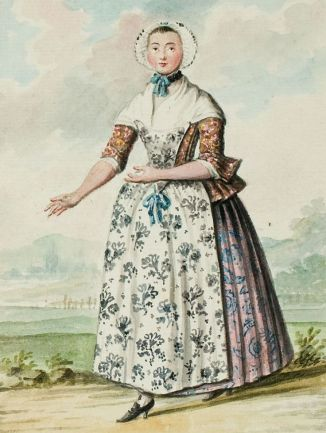 1770s Dutch Woman's Outfit with Pinner Apron 1 found on digital_bunka_ac_jp