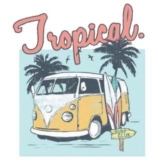 Vinyltryck Tropical bus