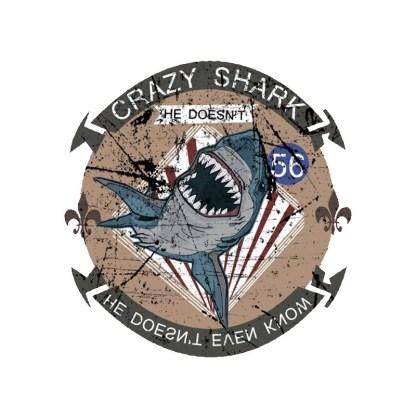 Vinyltryck crazy shark