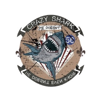 Vinyltryck crazy shark