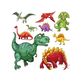 Vinyltryck collage dinosaurier 9 st 22x22cm