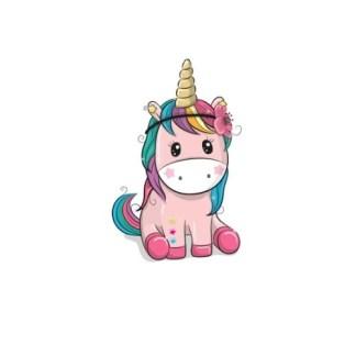 Vinyltryck unicorn sitter rosa 4x7