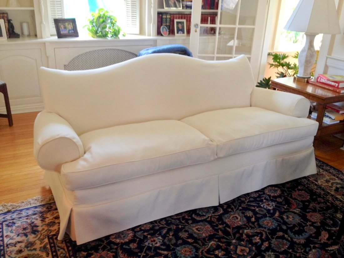 White Sofa Slipcover by Sewing Loft of Avon