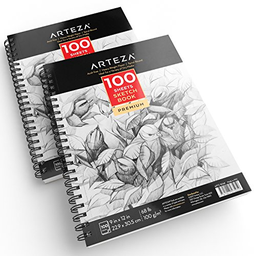 "ARTEZA 9X12"" Sketch Book, Pack of 2, 200 Sheets"