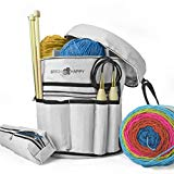 Stitch Happy Knitting Bag – Yarn Tote Organizer w/Tool Case, 7 Pockets + Divider for Extra Storage of Projects