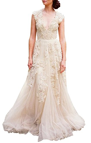 Ruolai WD1105001 ASA Vintage Cap Sleeve Lace Wedding Dress