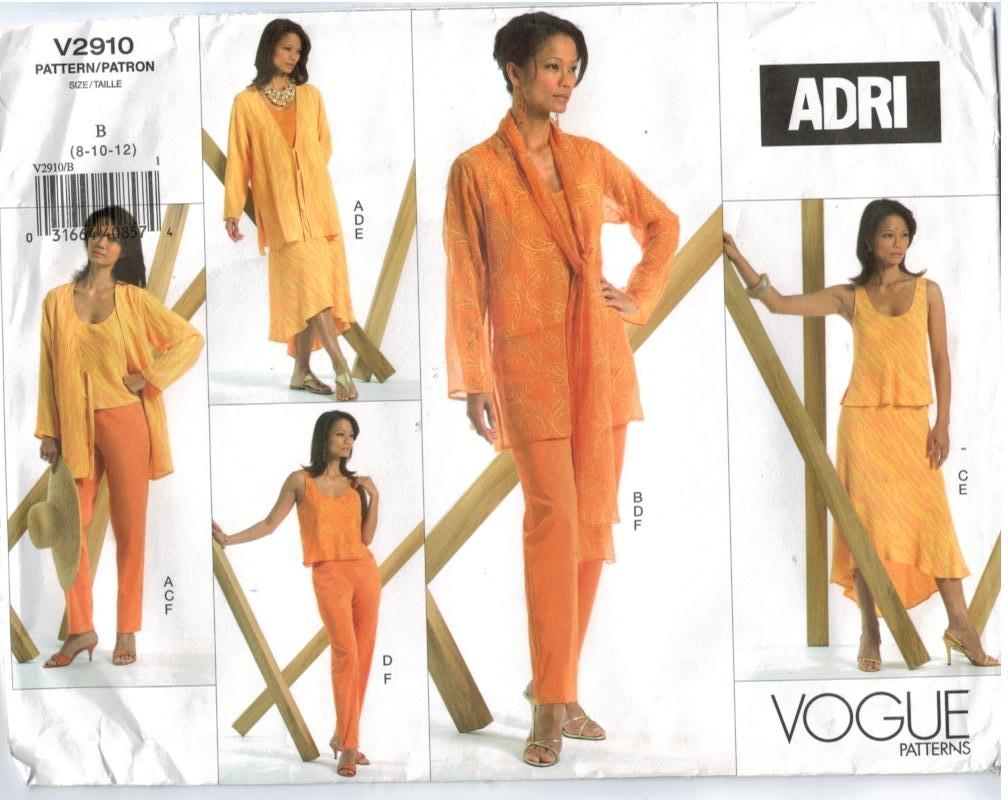 Vogue Pattern 12 Designer Jackets Tops Skirts Pants Sheer Size 12 ...