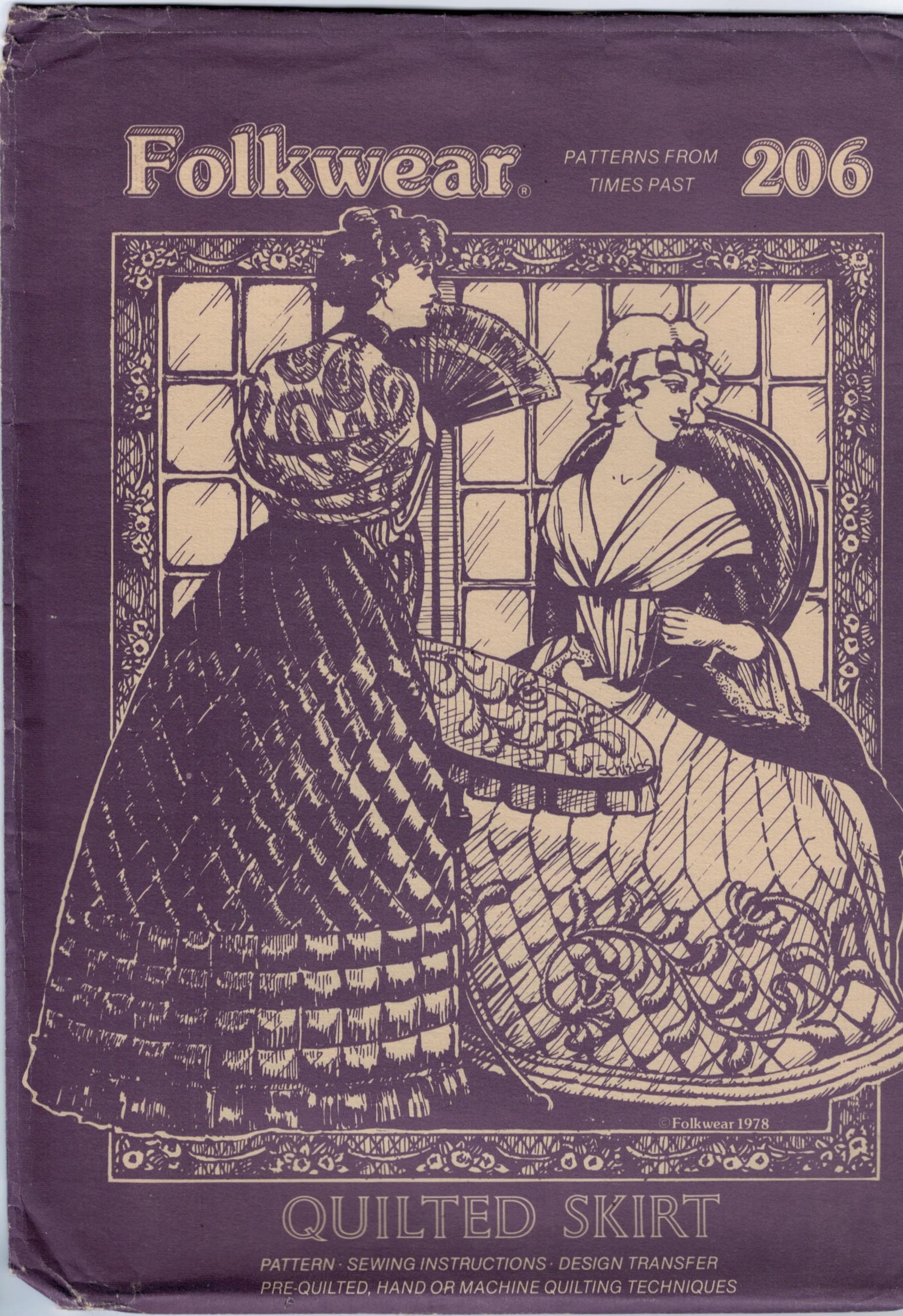 Folkwear Patterns 206 Quilted Skirt 18th Century Pioneer