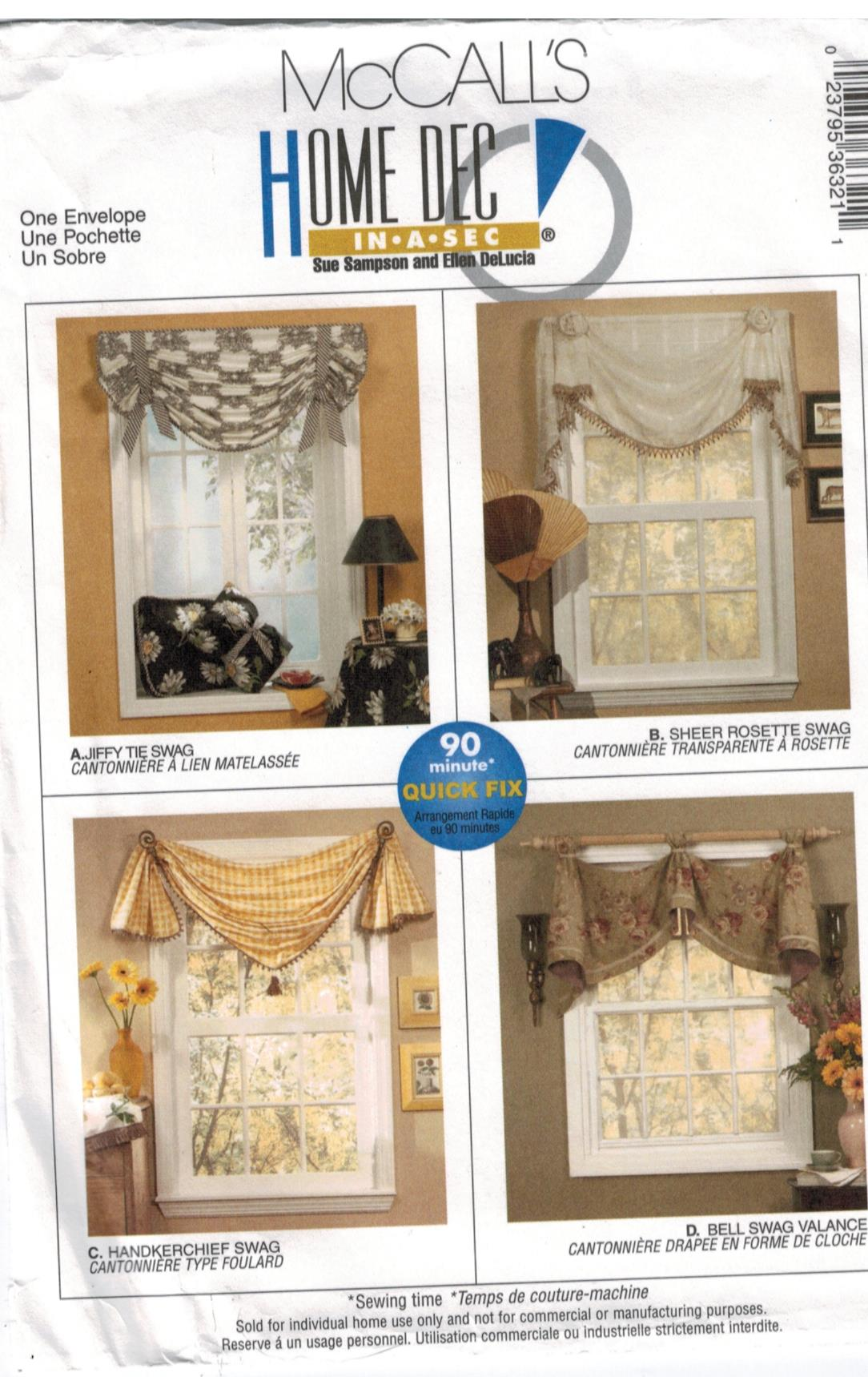 Mccalls Pattern Swags And Valance Window Treatment