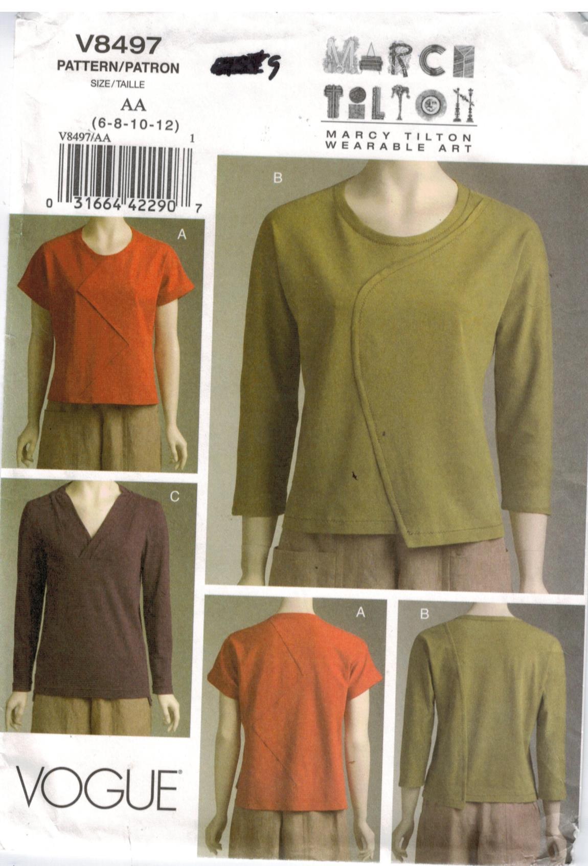 Vogue Pattern 12 Marcy Tilton designer wearable art knit tops ...