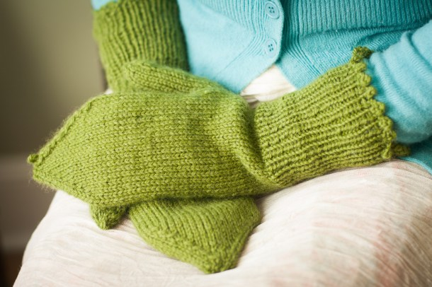 Sew.Knit.Create green mittens