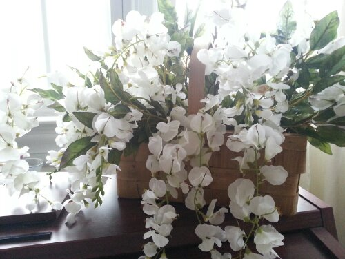 white flowers in a basket by Sew.Knit.Create