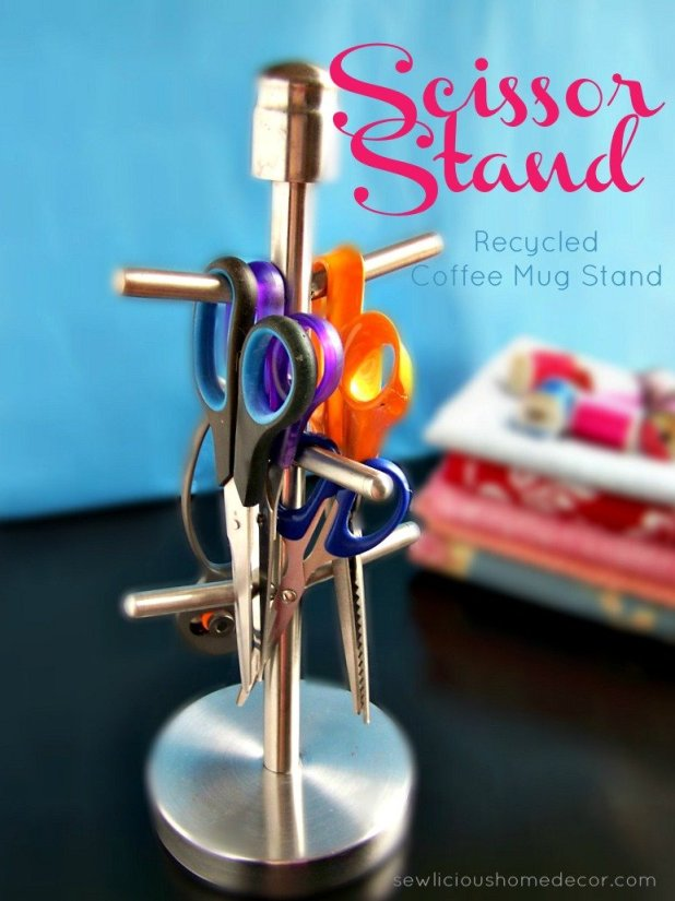 Craft Room Organization Sewing Room Organization Scissor Stand at sewlicioushomedecor.com