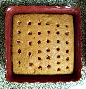 Flat Yellow Cake With Peanut Butter And Chocolate On Top