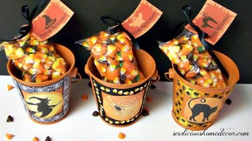 Halloween Gift Buckets with gift tags