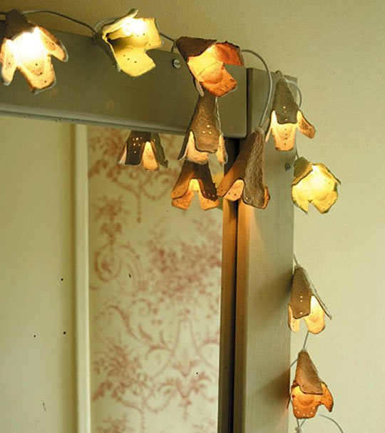 reuse egg cartons to make lights