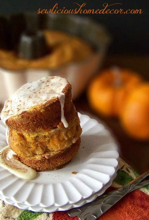 Pumpkin Cake French Toast Eggnong Frosting