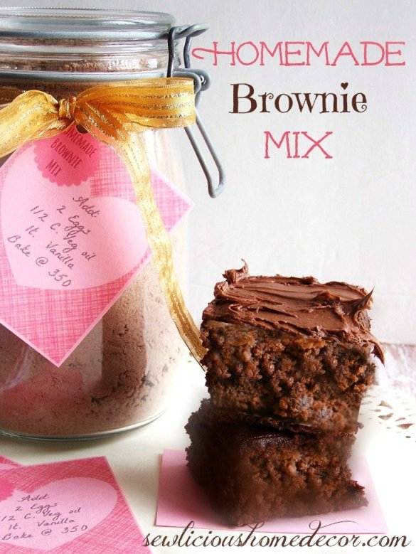 Homemade Brownie Mix with labels