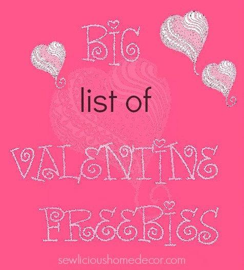 Big list of valentine freebies
