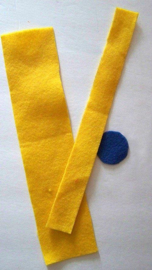 yellow blue felt flower