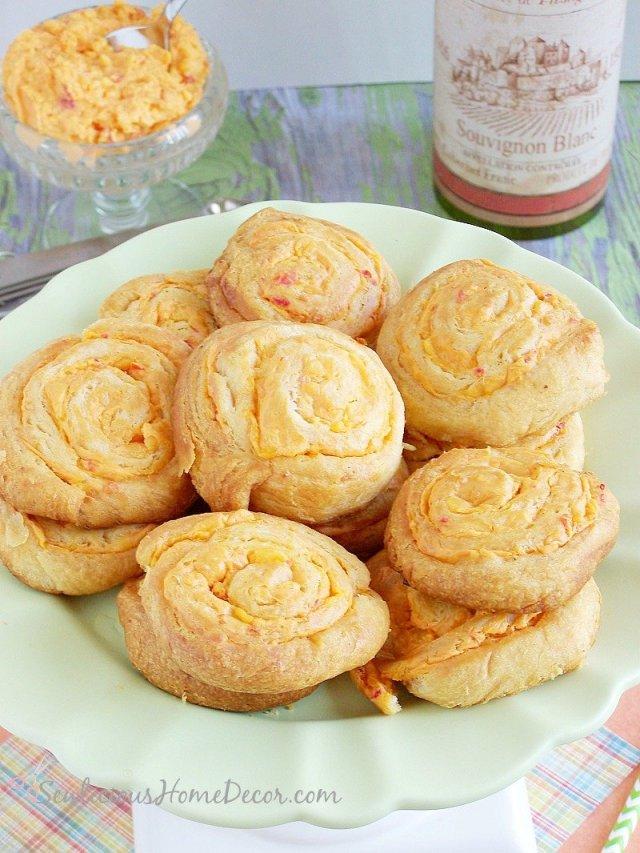 Flakey Pimento Cheese Pinwheels be sewlicioushomedecor.com