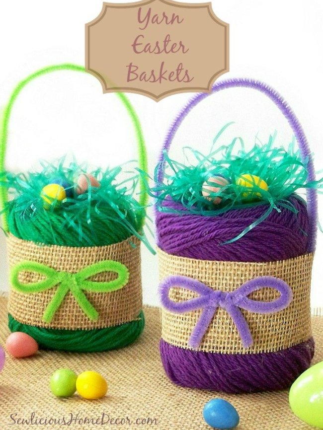 Yarn Easter Baskets at sewlicioushomedecor.com