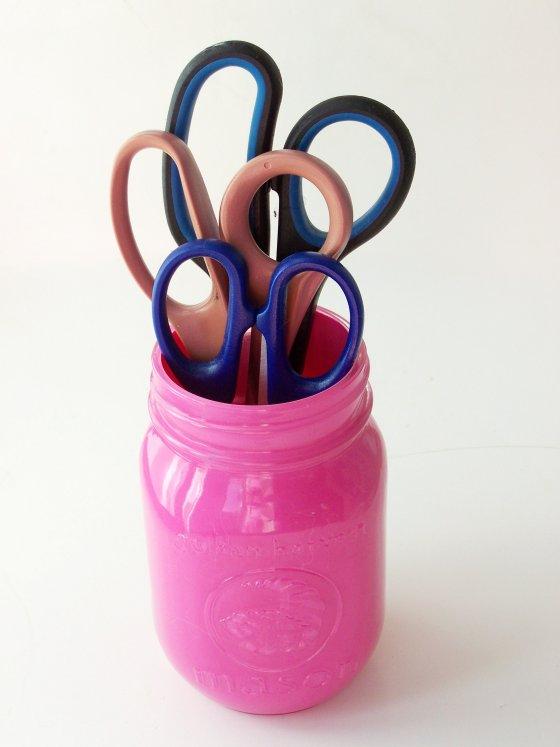 DIY Craft Room Mason Jar Scissor Holders at sewlicioushomedecor.com