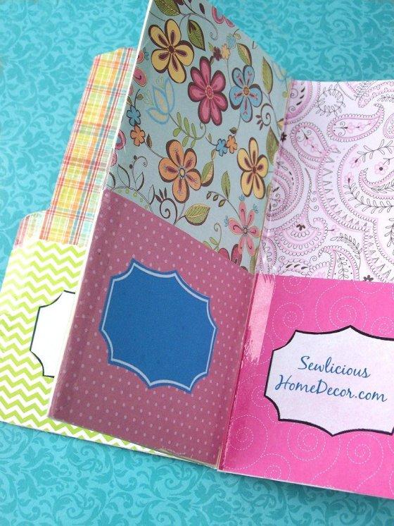 Pocket folder organizer made with scrapbook paper and manilla folders. sewlicioushomedecor.com