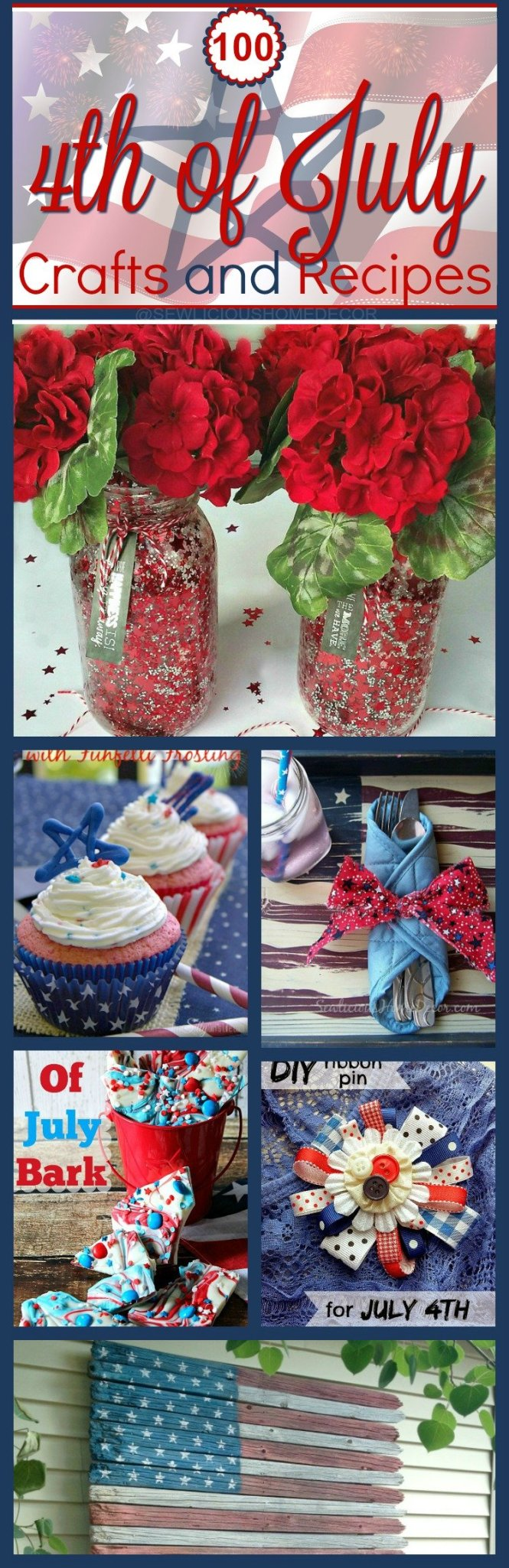Fourth of July Crafts and Recipes at sewlicioushomedecor.com
