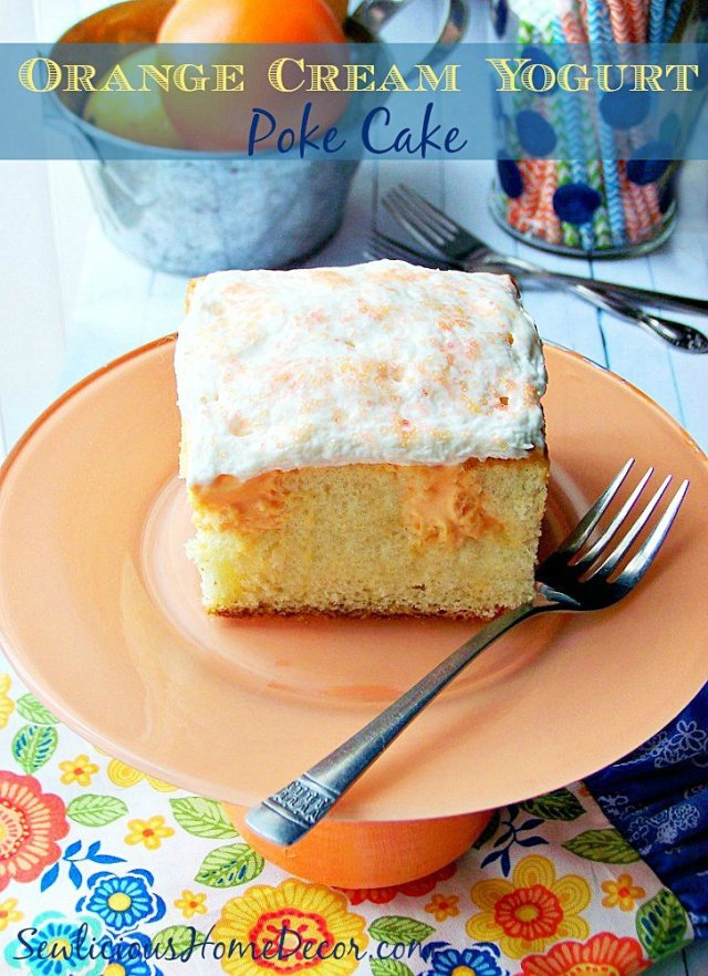 A super Moist Orange Cream Yogurt Poke Cake