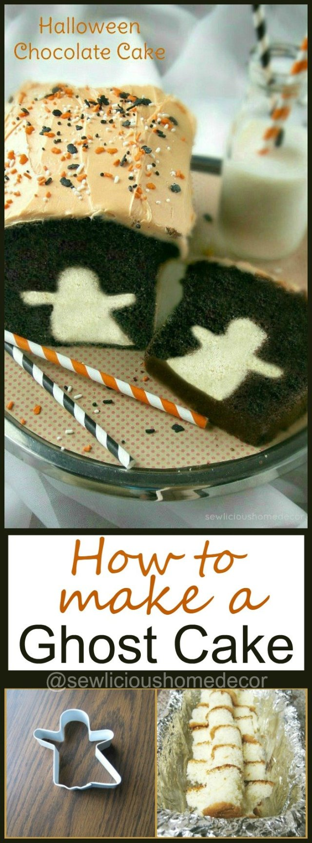 How To Make A Halloween Ghost Cake sewlicioushomedecor.com
