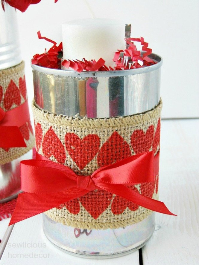 Valentine Red Heart Burlap Tin Cans sewlicioushomedecor.com