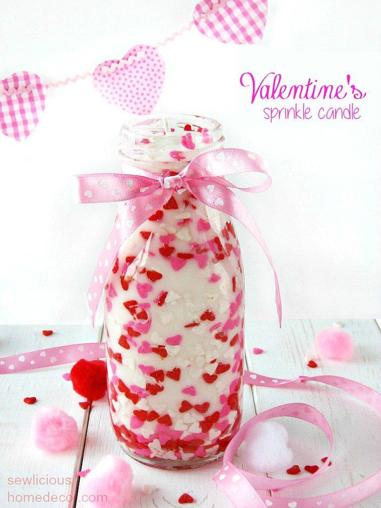 DIY Valentine Sprinkles Candle Gift Idea sewlicioushomedecor.com