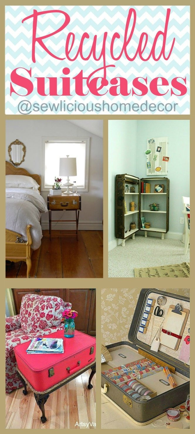 Recycled Upcycled DIY Suitcases and Trunks Furniture Projects sewlicioushomedecor.com