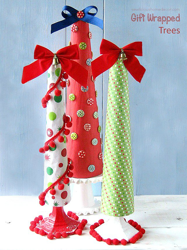 Wrapped-cones-with-tissue-paper-or-wrapping-paper-for-a-DIY-Holiday-Christmas-Tree-at-sewlicioushomedecor